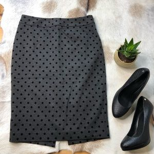 WHBM flocked polka dot pencil skirt Charcoal gray